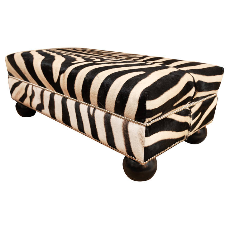 Zebra Chairs and Ottoman Center Table