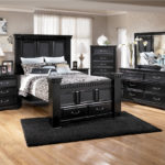 Bedroom furniture black glass