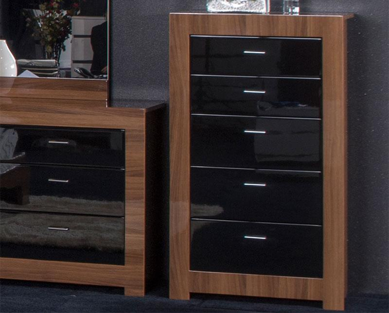 Bedroom furniture black gloss and walnut