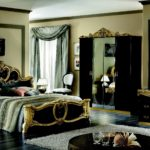 Black bedroom furniture with gold trim