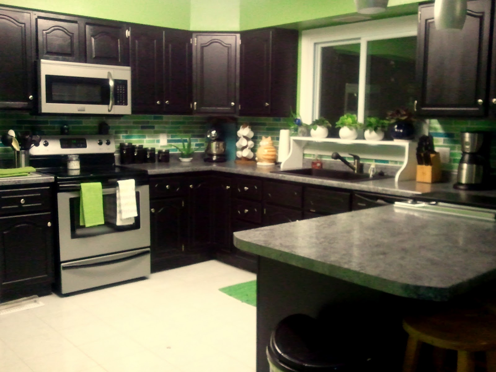 Black kitchen cabinets and green walls