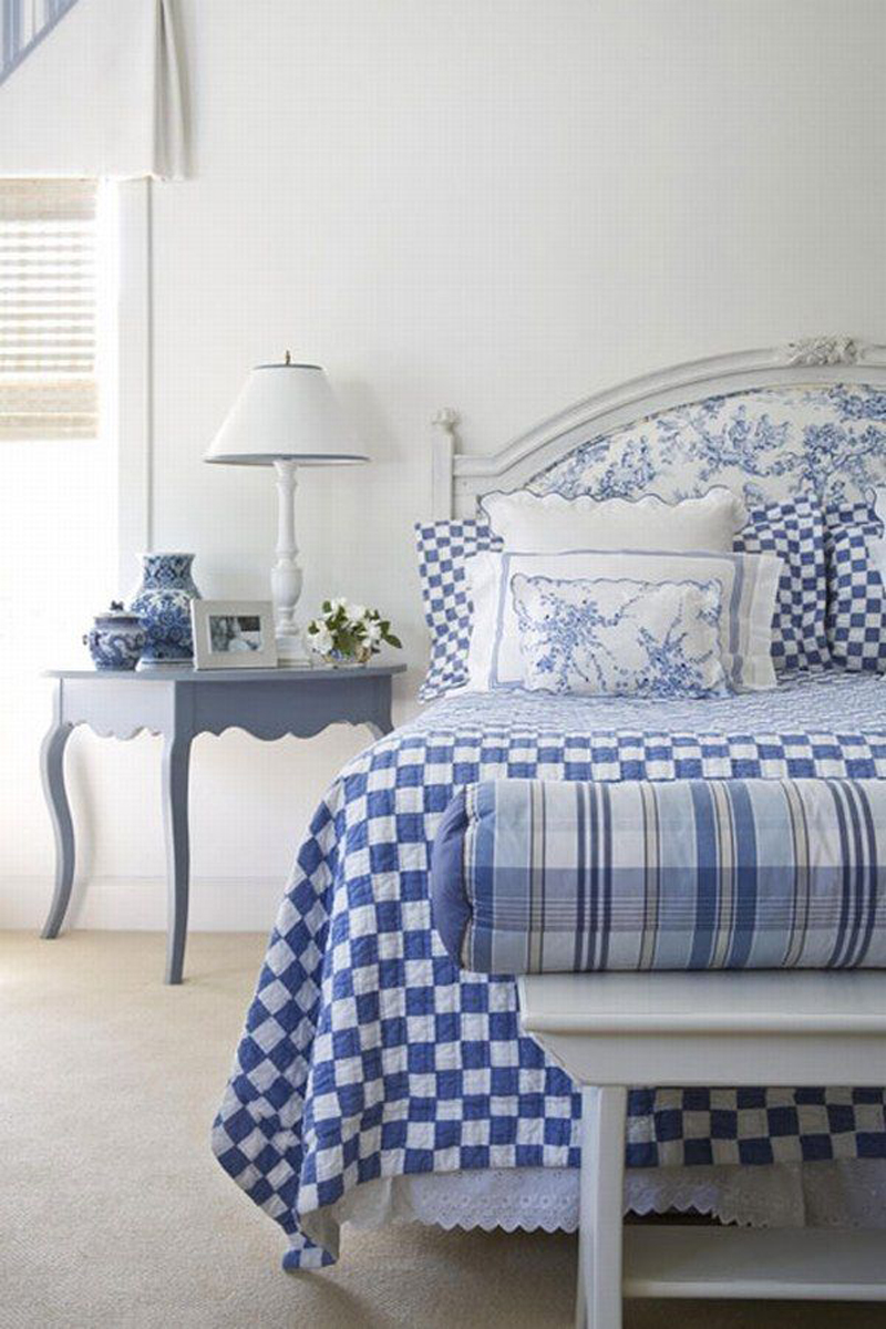Blue and white bedroom accessories
