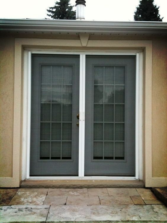 Double french doors with screens