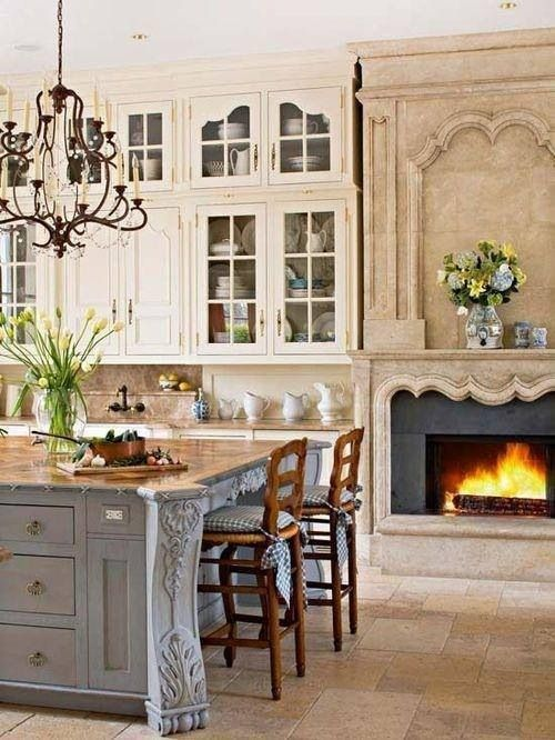 French country kitchen fireplace
