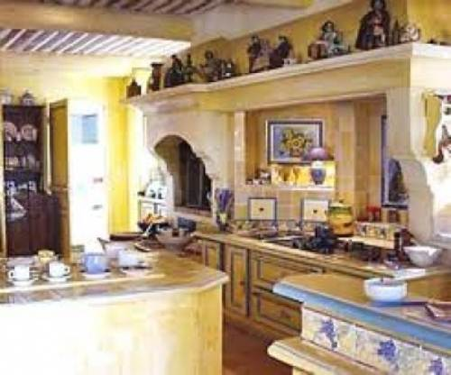 French country kitchen yellow blue