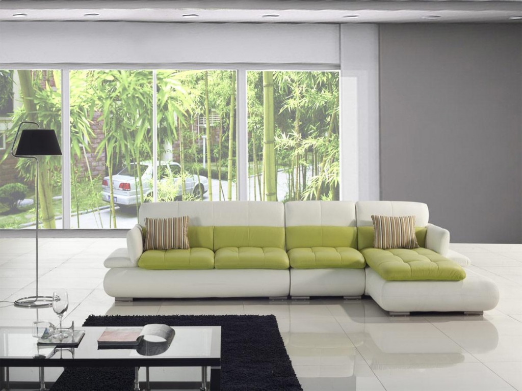 Green room with white furniture