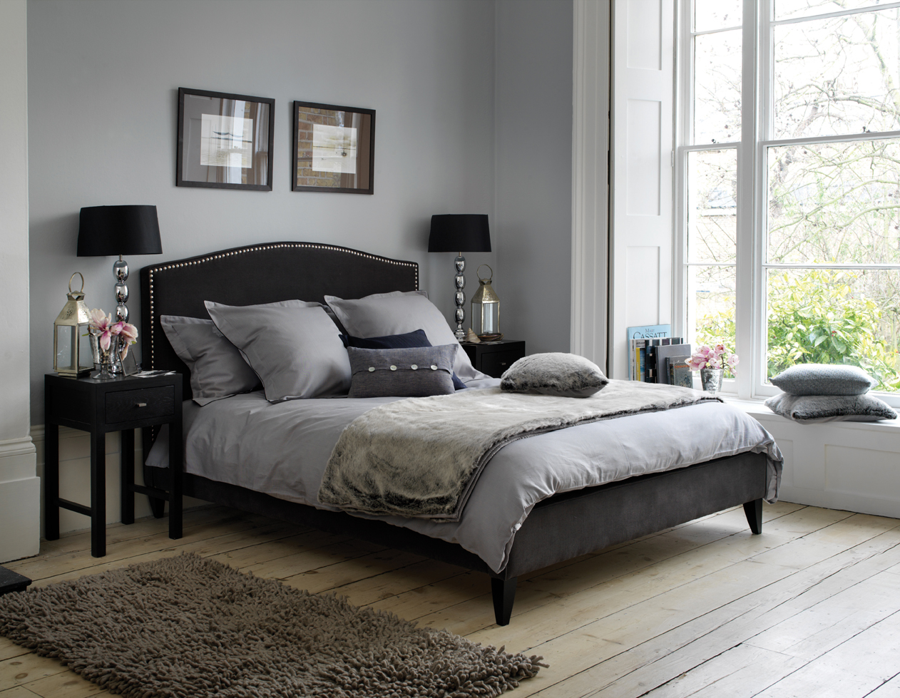 Grey and black bedroom design