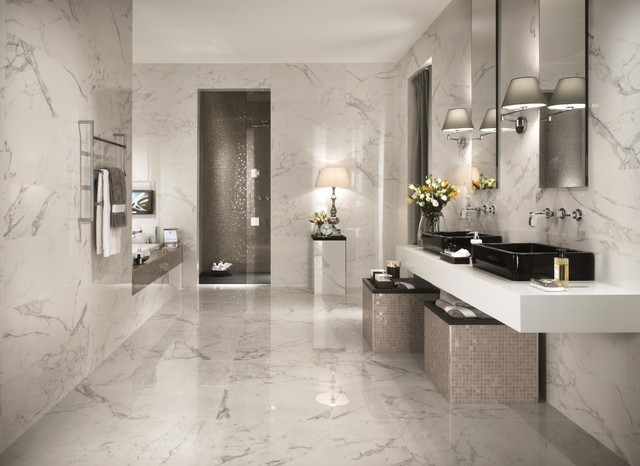Italian marble tile bathroom