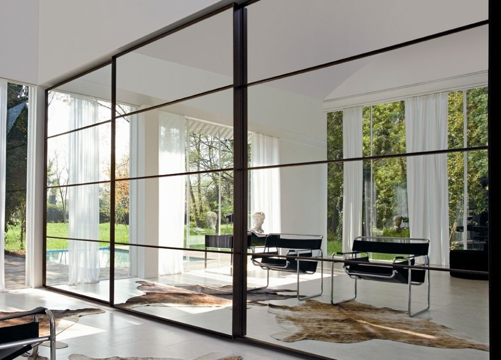 Mirrored glass closet doors