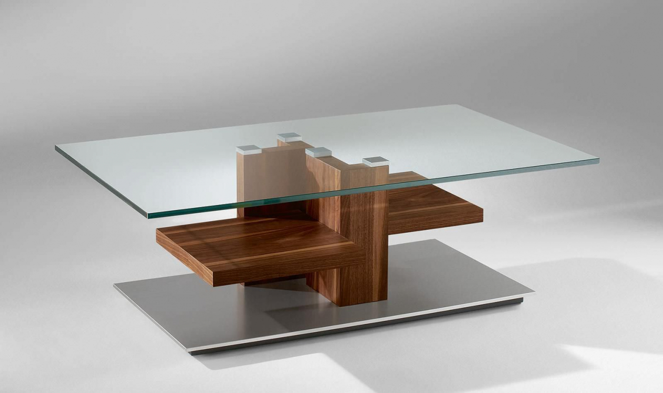Modern coffee table glass and wood