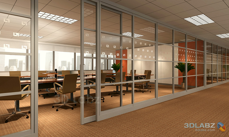 Office interior glass walls