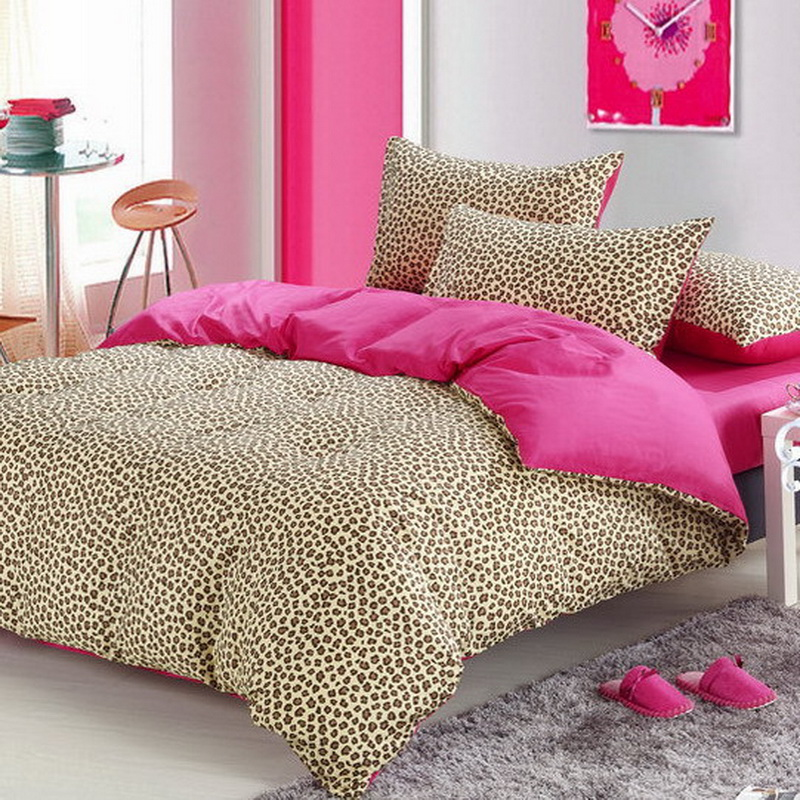 Pink cheetah print bedroom