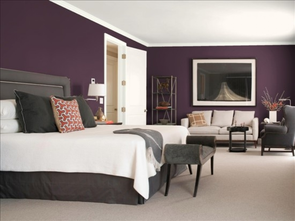 Purple colored bedrooms