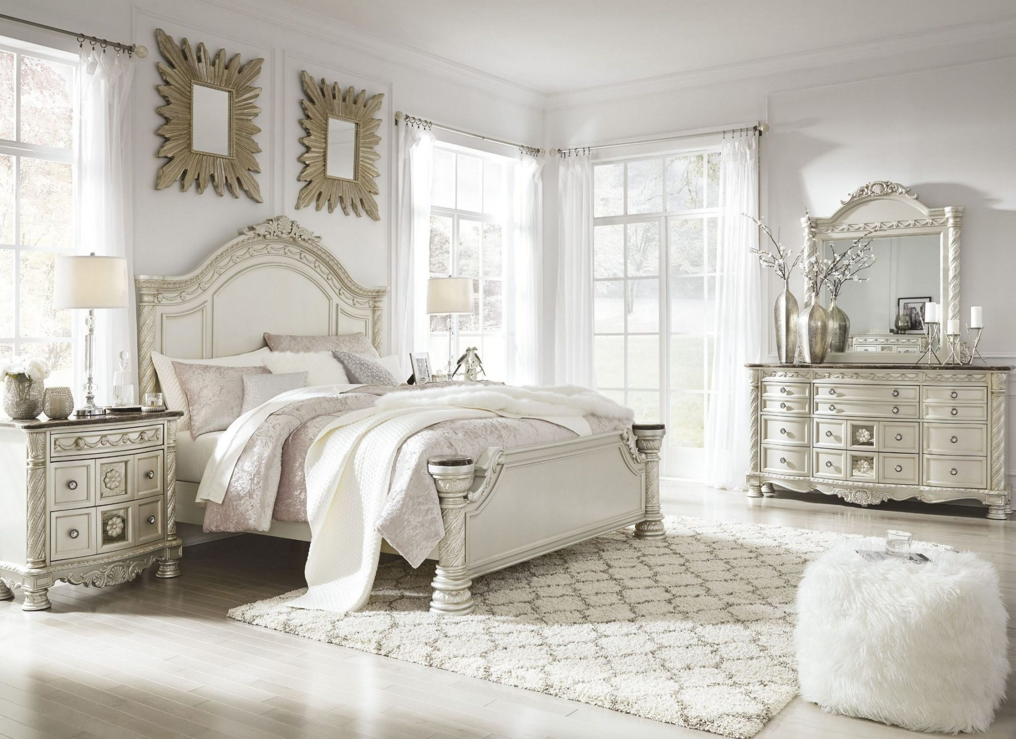 Silver pearl bedroom set