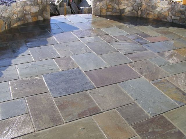 Slate tiles for a patio