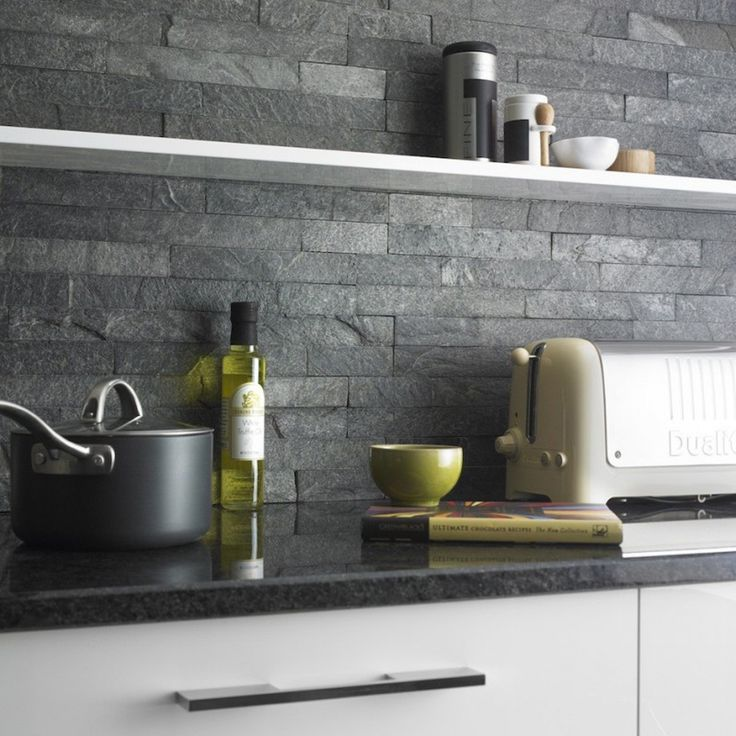 Slate tiles for kitchen wall