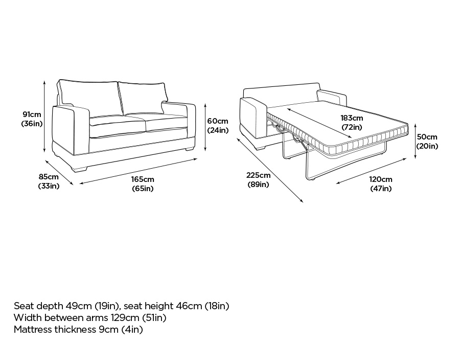 Sleeper sofa dimensions