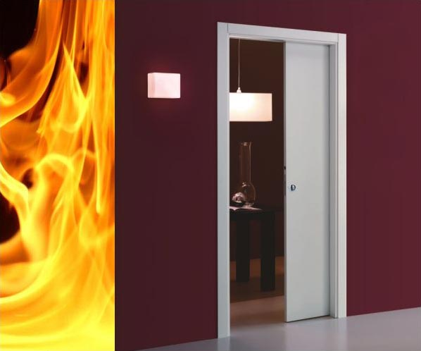 Sliding pocket doors fire rated