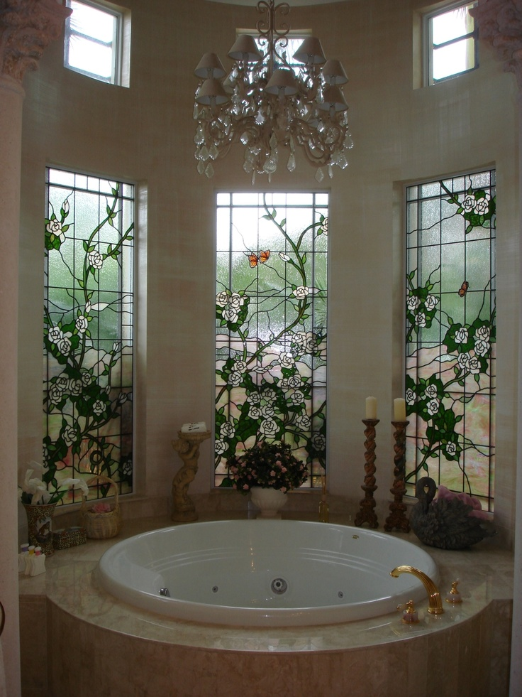 Spa bathroom window treatments