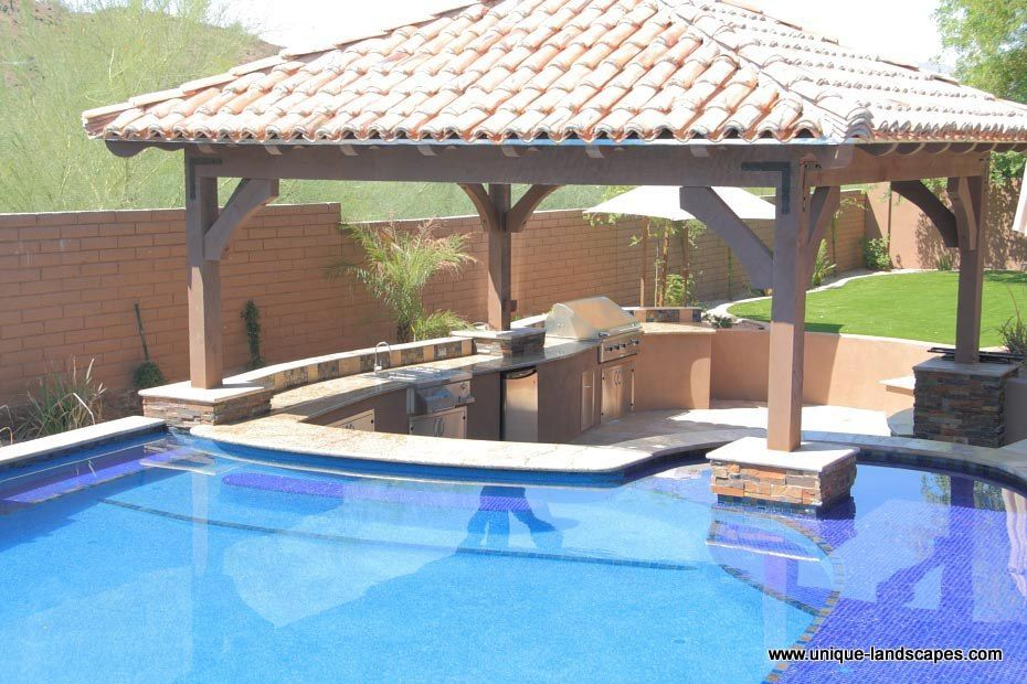 Swimming pool designs with bar