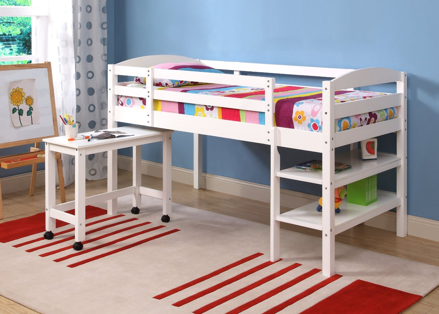 Twin low loft beds for kids