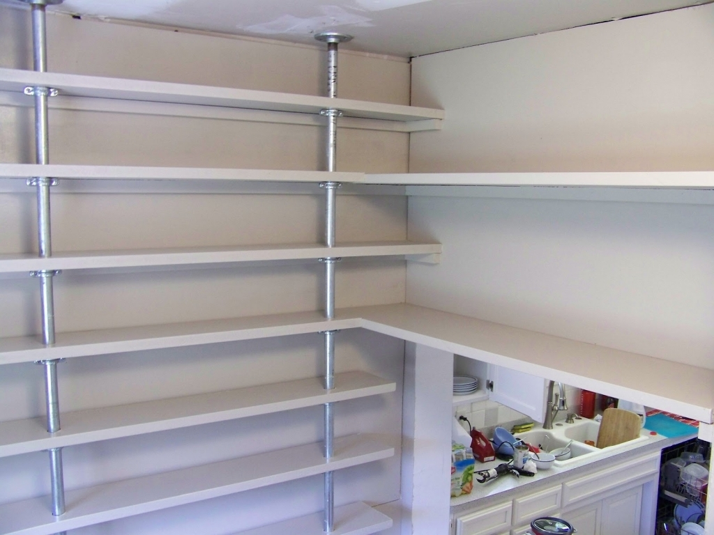 Wall mounted pantry shelves