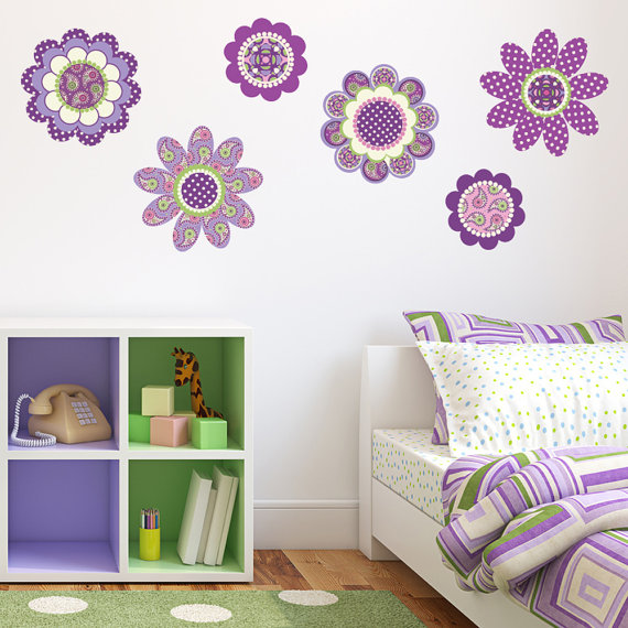 Wall stickers purple flowers