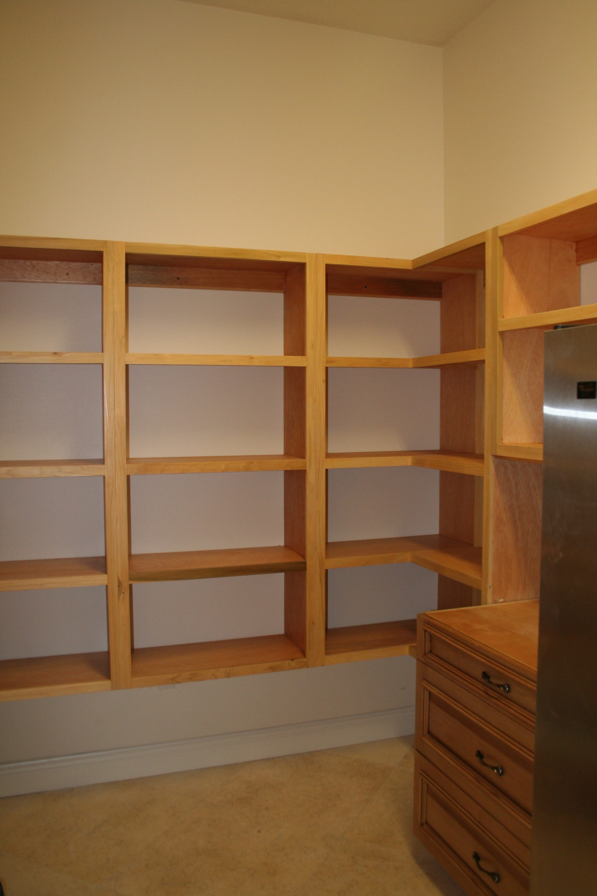 Wooden pantry shelving systems