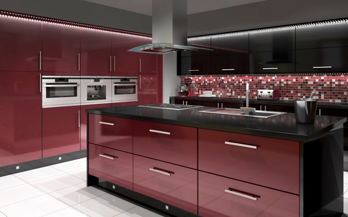 Black and Red Modern Kitchen photo - 10