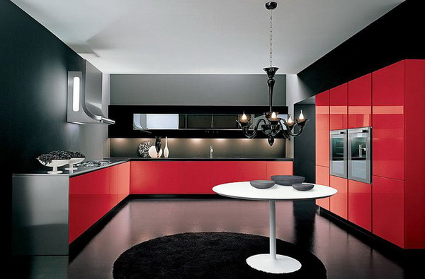 Black and Red Modern Kitchen photo - 3