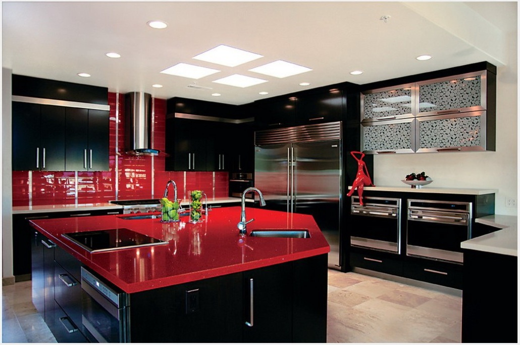 Black and Red Modern Kitchen photo - 5