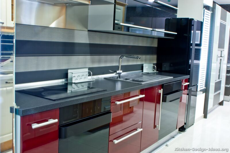 Black and Red Modern Kitchen photo - 6
