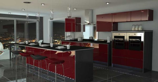 Black and Red Modern Kitchen photo - 8