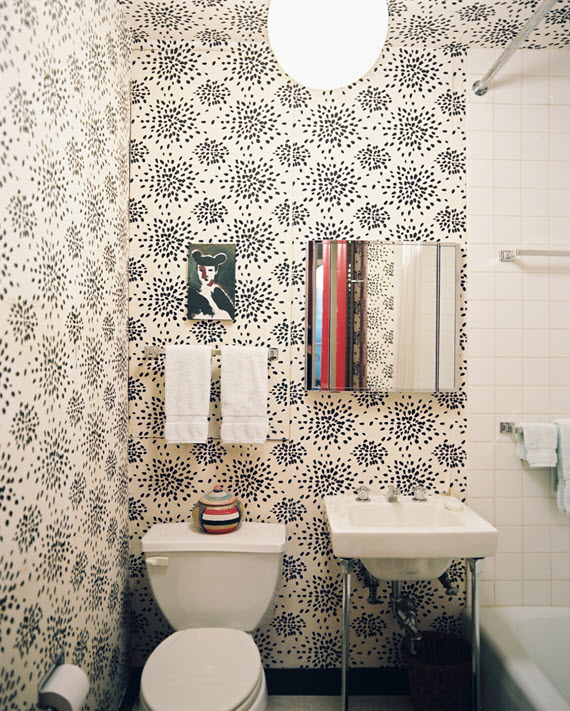 Black and White Wallpaper for Bathrooms photo - 10