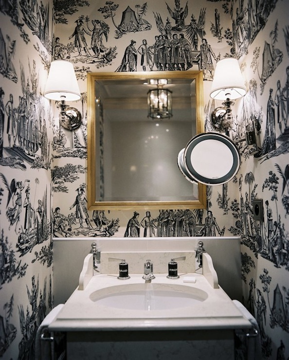 Black and White Wallpaper for Bathrooms photo - 4