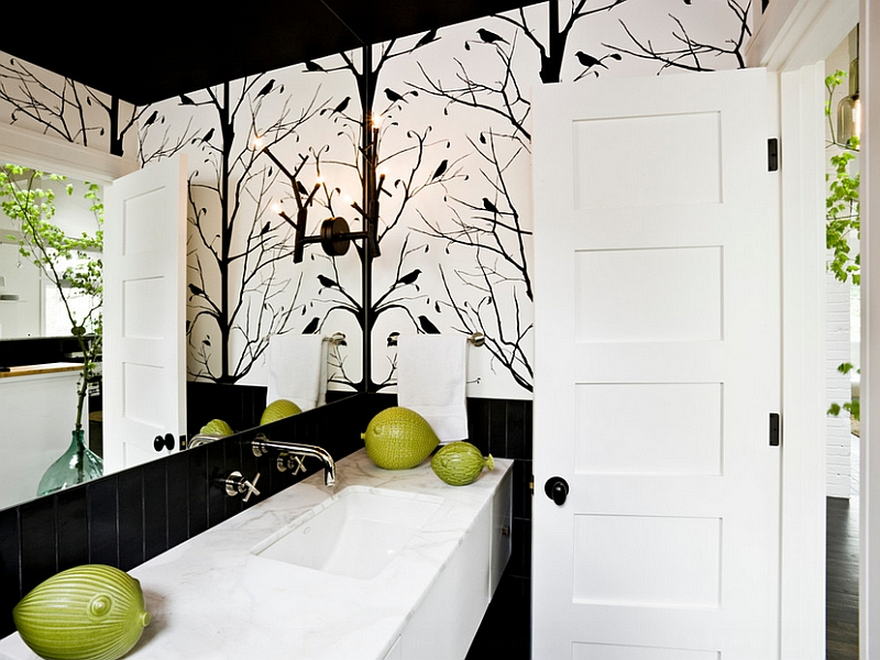 Black and White Wallpaper for Bathrooms photo - 8