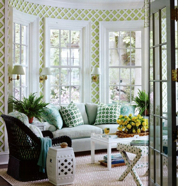 Geometric Green Wallpaper with Rattan Chair photo - 10