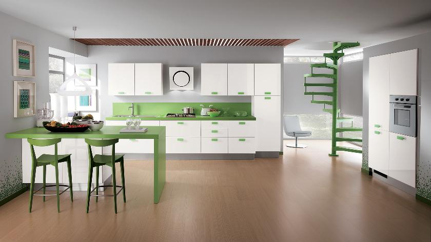 Modern Kitchen with Green Accent photo - 2