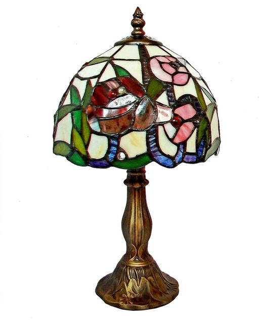Red Rose Stained Glass Table Lamp Shades photo - 8