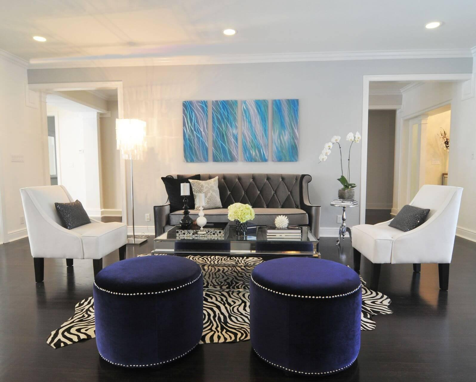 Zebra Chairs and Ottoman Center Table photo - 7