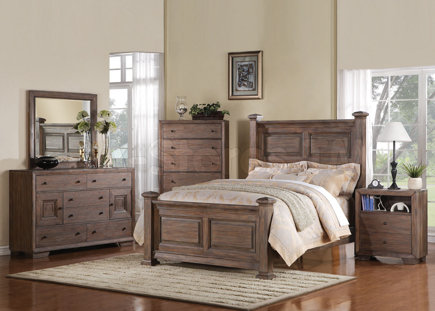 bedroom furniture white distressed photo - 3