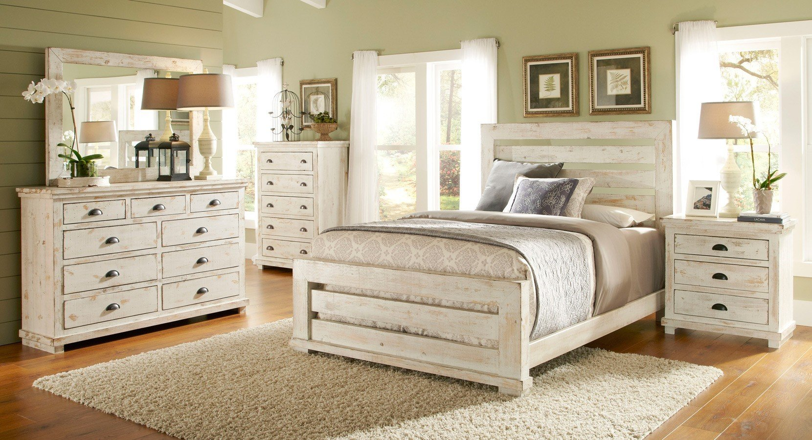 bedroom furniture white distressed photo - 7