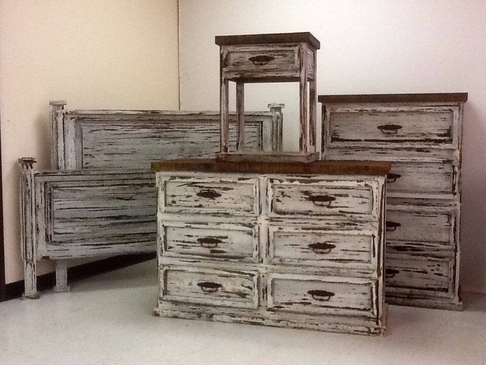 bedroom furniture white distressed photo - 8