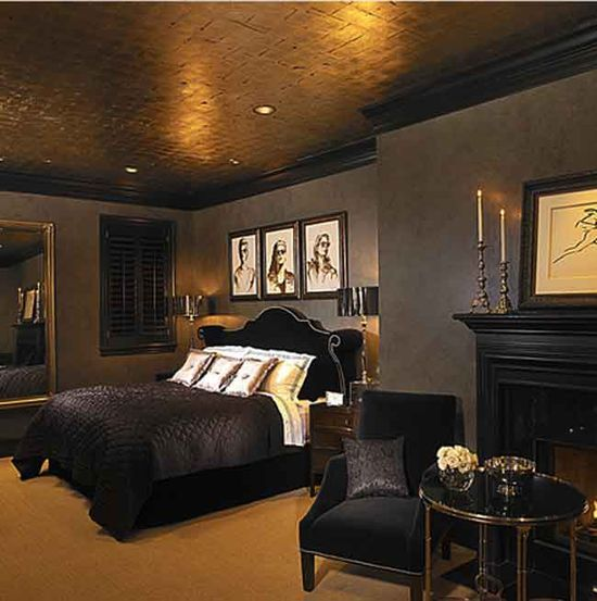 black bedroom furniture with gold trim photo - 7