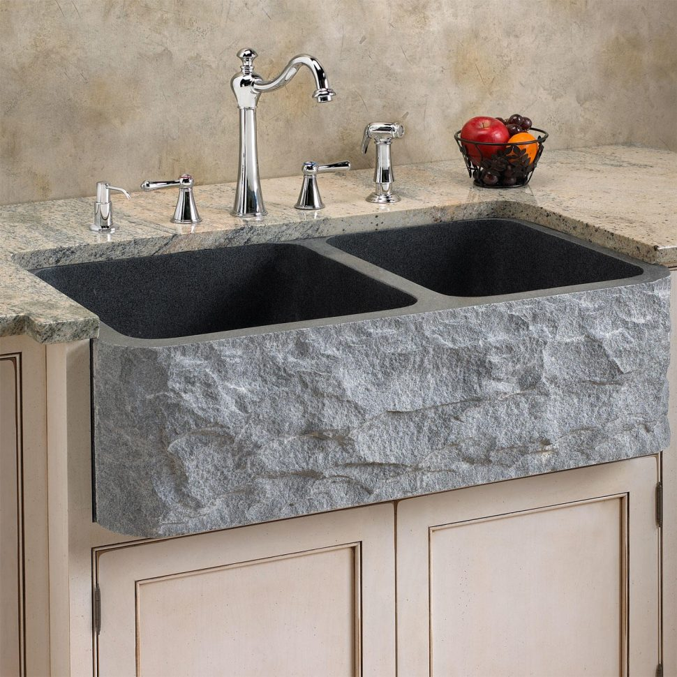 black composite granite kitchen sink photo - 10