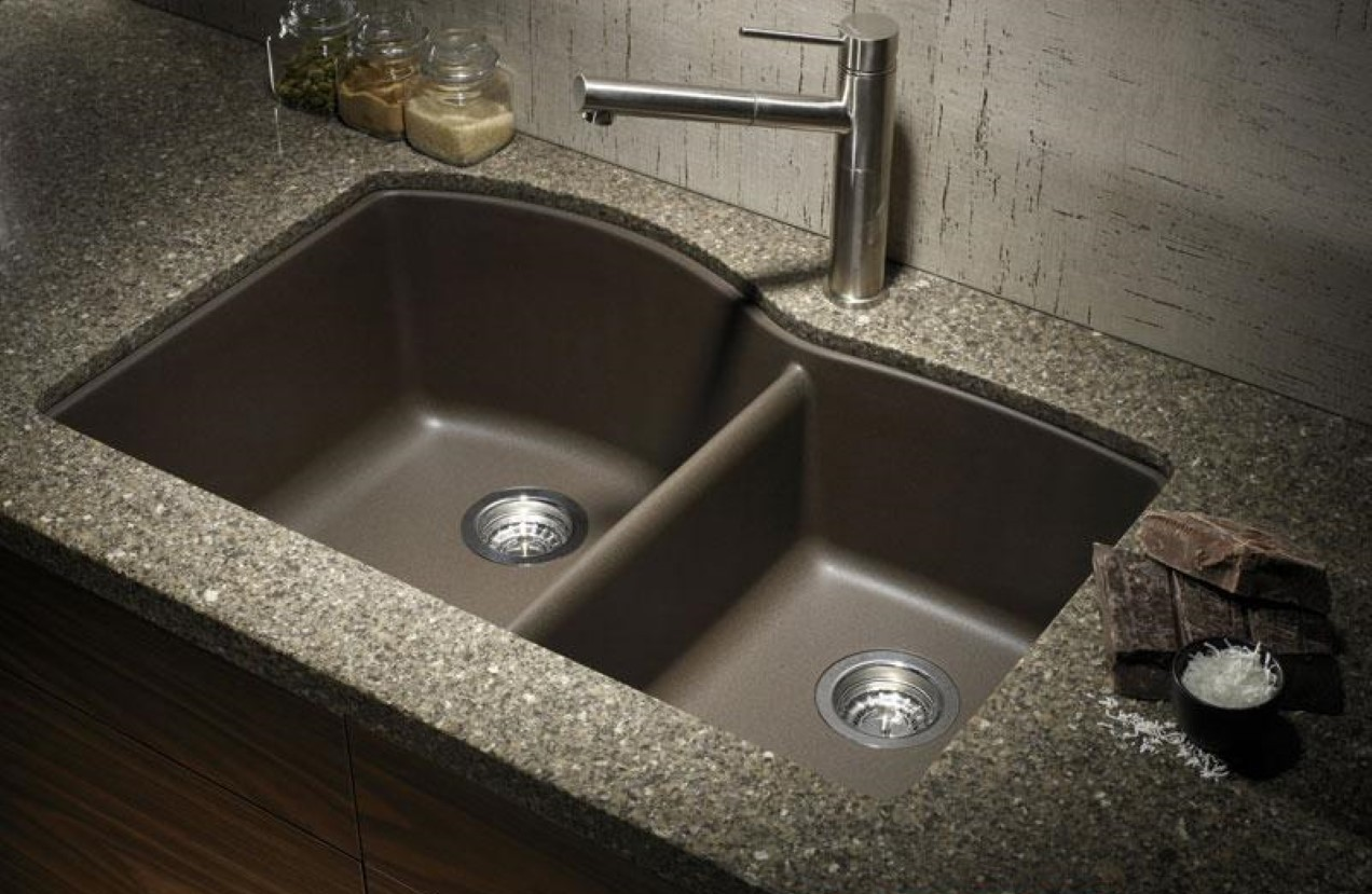 black composite granite kitchen sink photo - 2