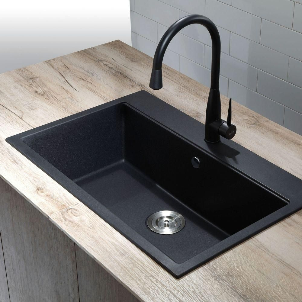 black composite granite kitchen sink photo - 5