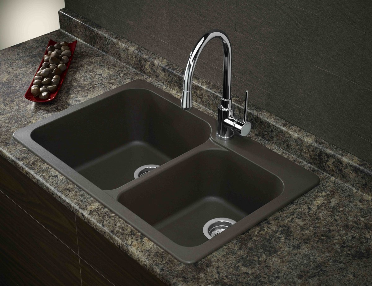 black composite granite kitchen sink photo - 6