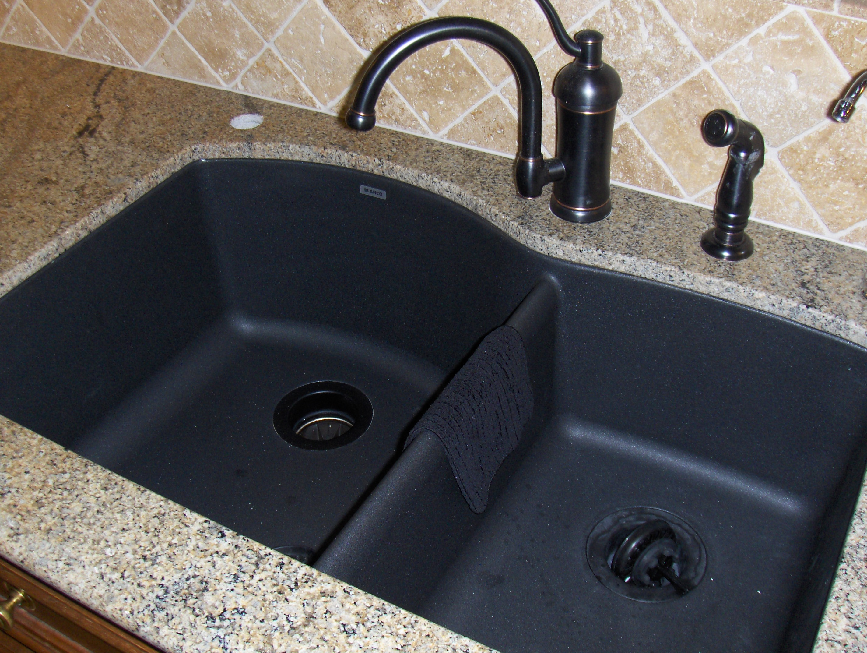 black composite granite kitchen sink photo - 7