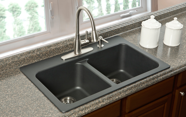 black composite granite kitchen sink photo - 8